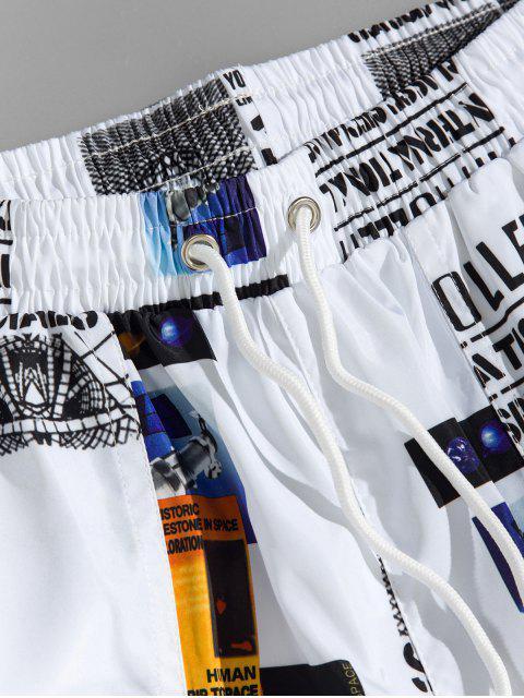Pantalon Décontracté Lettre Graphique Imprimée à Cordon - Blanc XL Mobile