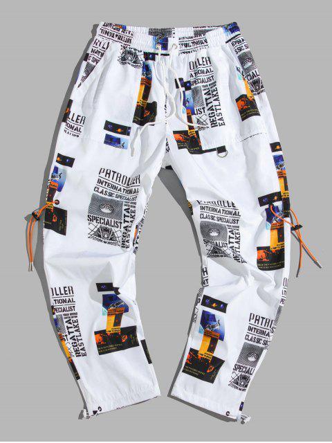 Pantalones Casuales de Impresión Gráfica de Letra - Blanco 2XL Mobile