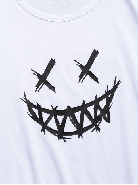 笑臉圖形休閒短袖T卹 - 白色 L Mobile