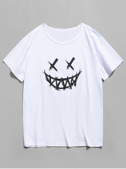 笑臉圖形休閒短袖T卹 - 白色 XS Mobile