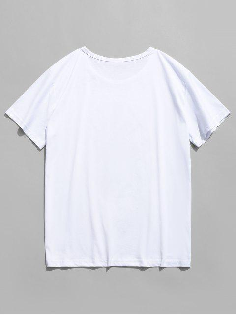 fancy Happy Face Graphic Casual Short Sleeve T Shirt - WHITE S Mobile
