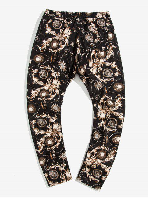 online Baroque Printed Drawstring Casual Pants - BEIGE L Mobile