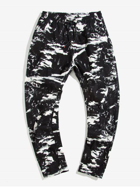 shop Painting Printed Elastic Waist Casual Pants - BLACK XS Mobile