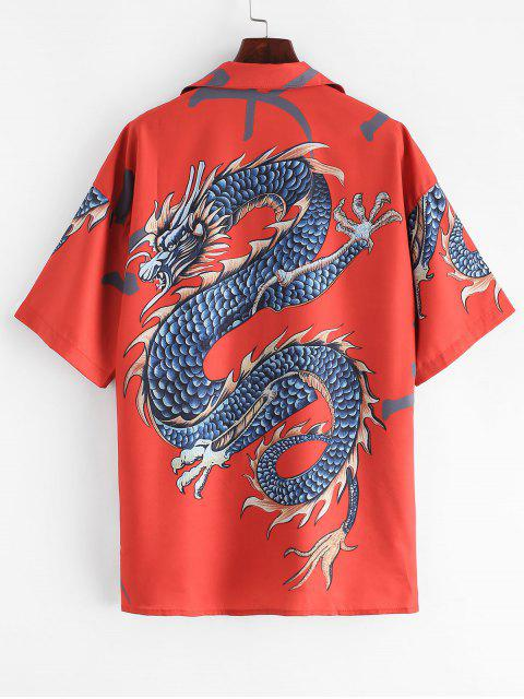 latest Dragon Print Button Up Longline Shirt - RED ONE SIZE Mobile