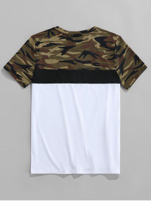 ZAFUL Carta de Camuflagem Impressão Mangas Curtas T-shirt - Multi 2XL Mobile