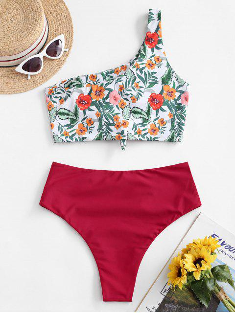 women ZAFUL Flower Leaf One Shoulder High Cut Knot Tankini Swimsuit - RED XL Mobile