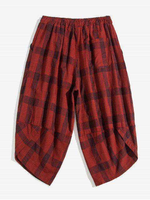 online Plaid Pattern Elastic Waist Casual Pants - RED WINE XL Mobile