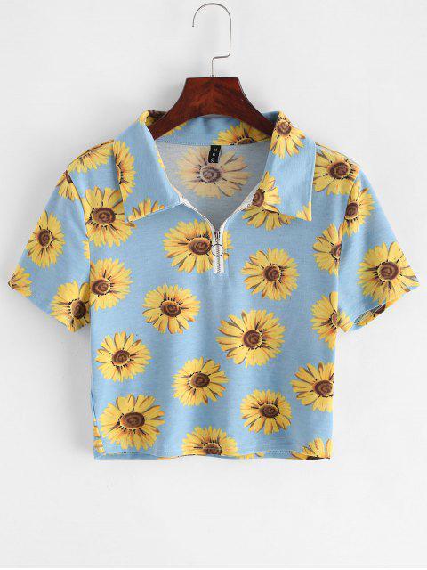 ZAFUL T-shirt Court Tournesol à Demi-Zip - Bleu Ciel Léger  M Mobile