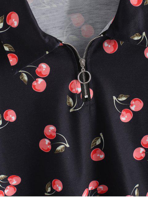 ZAFUL T-shirt Court Cerise Imprimée à Demi-Zip - Noir XL Mobile