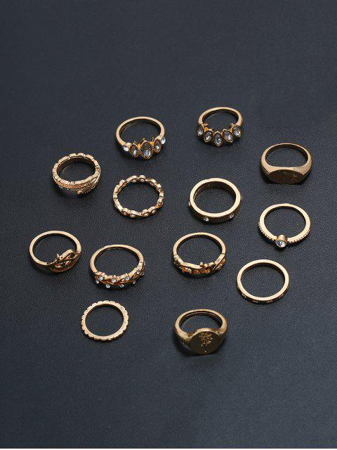 outfits 13Pcs Round Shape Rhinestone Finger Rings Set - GOLD  Mobile