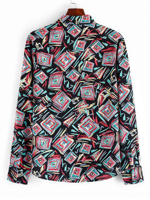 ZAFULカラフルな幾何学プリントボタン付きシャツ - マルチA S Mobile