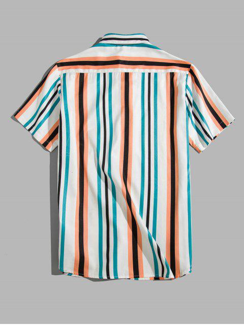 best Colorful Striped Printed Short Sleeves Shirt - MULTI-A 2XL Mobile