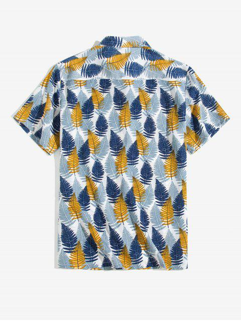 new Leaf Printed Button Short Sleeves Shirt - BLUE GRAY XL Mobile