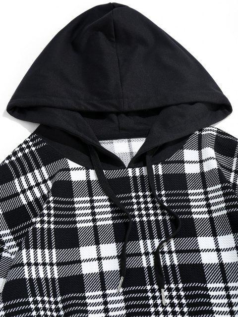 Zaful Kariertes Muster Känguru Tasche Hoodie - Schwarz 2XL Mobile