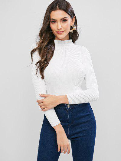 Pullover Mock Neck Plain Slim Sweater - White