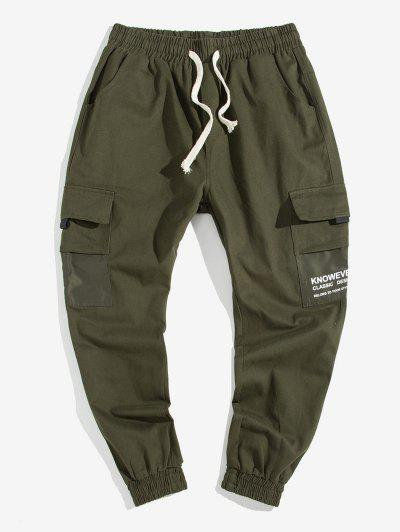 Letter Pocket Decoration Casual Cargo Pants - Army Green M