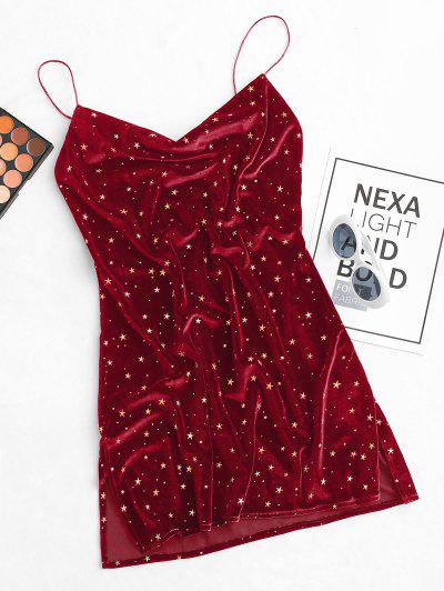 Vestido De Veludo Com Capuz Frente Estrelas E Veludo Com Corte Lateral - Vermelho L