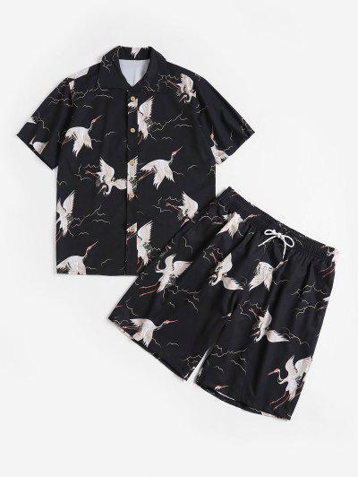 Flying Bird Print Shirt And Shorts - Black L