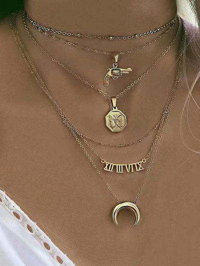 Moon Gun Letter Pendant Multilayered Chain Necklace - Gold