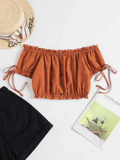ZAFUL Off Shoulder Ruffle Mock Button Crop Blouse - Rust S