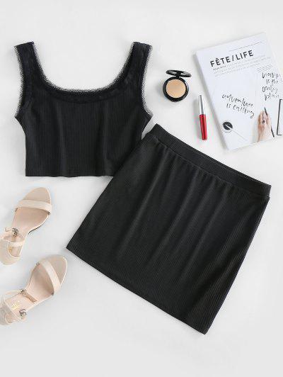 ZAFUL Crop Top And Mini Bodycon Skirt Co Ord Set - Black Xl