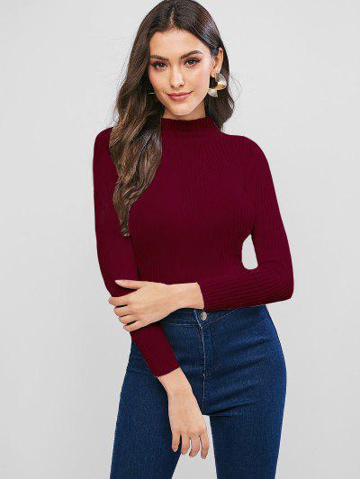 Pullover Mock Neck Plain Slim Sweater - Red Wine
