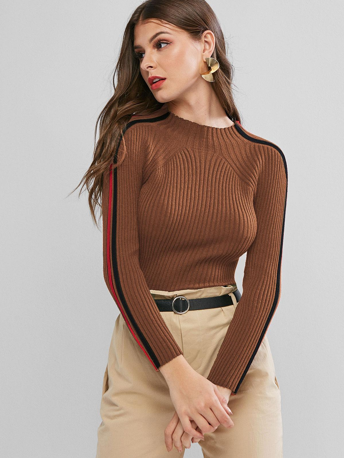 Ribbed Side Colorblock Mock Neck Sweater