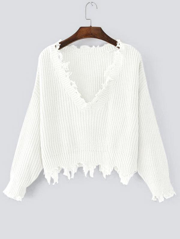Loose Ripped V Neck Sweater