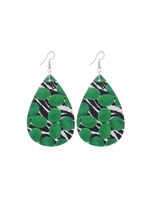 Water Drop Leaf Print PU Hook Earrings