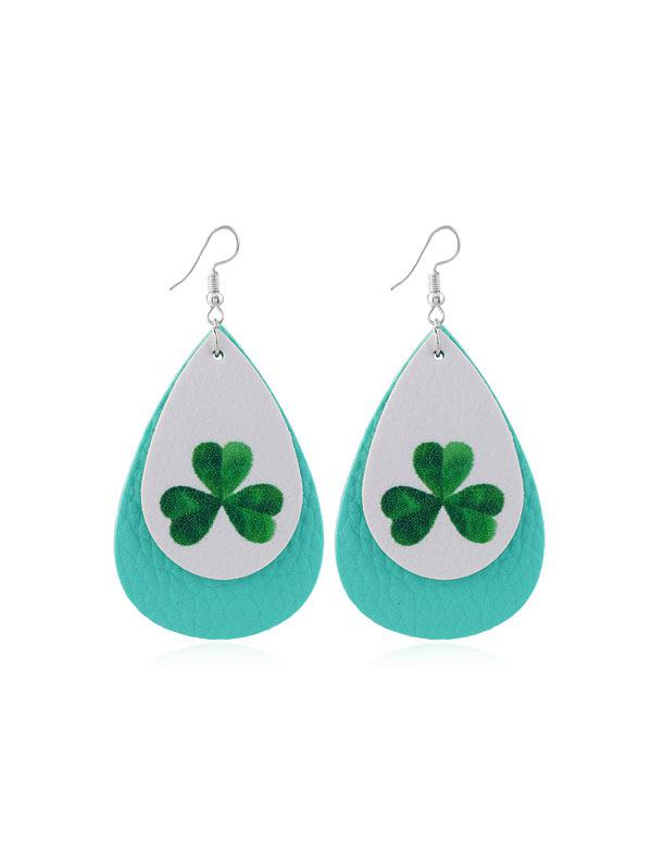 Layer Leaf Print PU Water Drop Hook Earrings