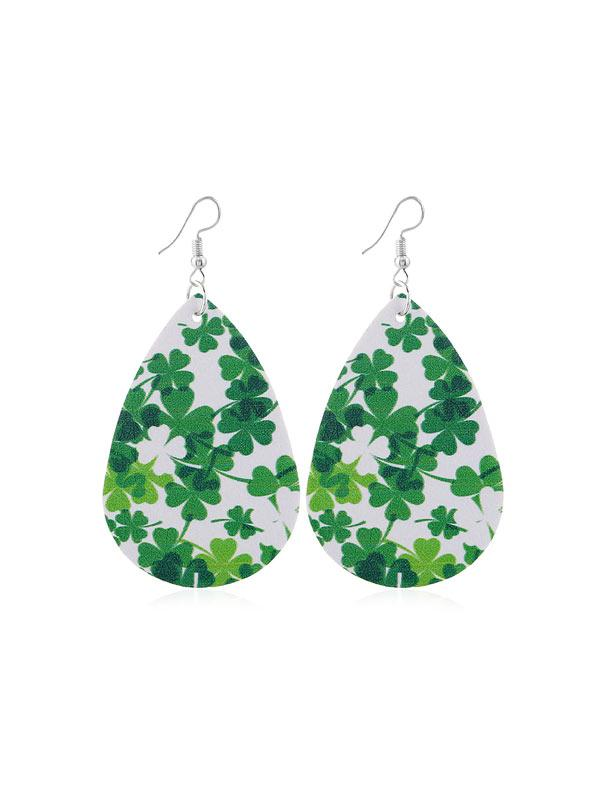 Tear Drop Leaf Print PU Hook Earrings