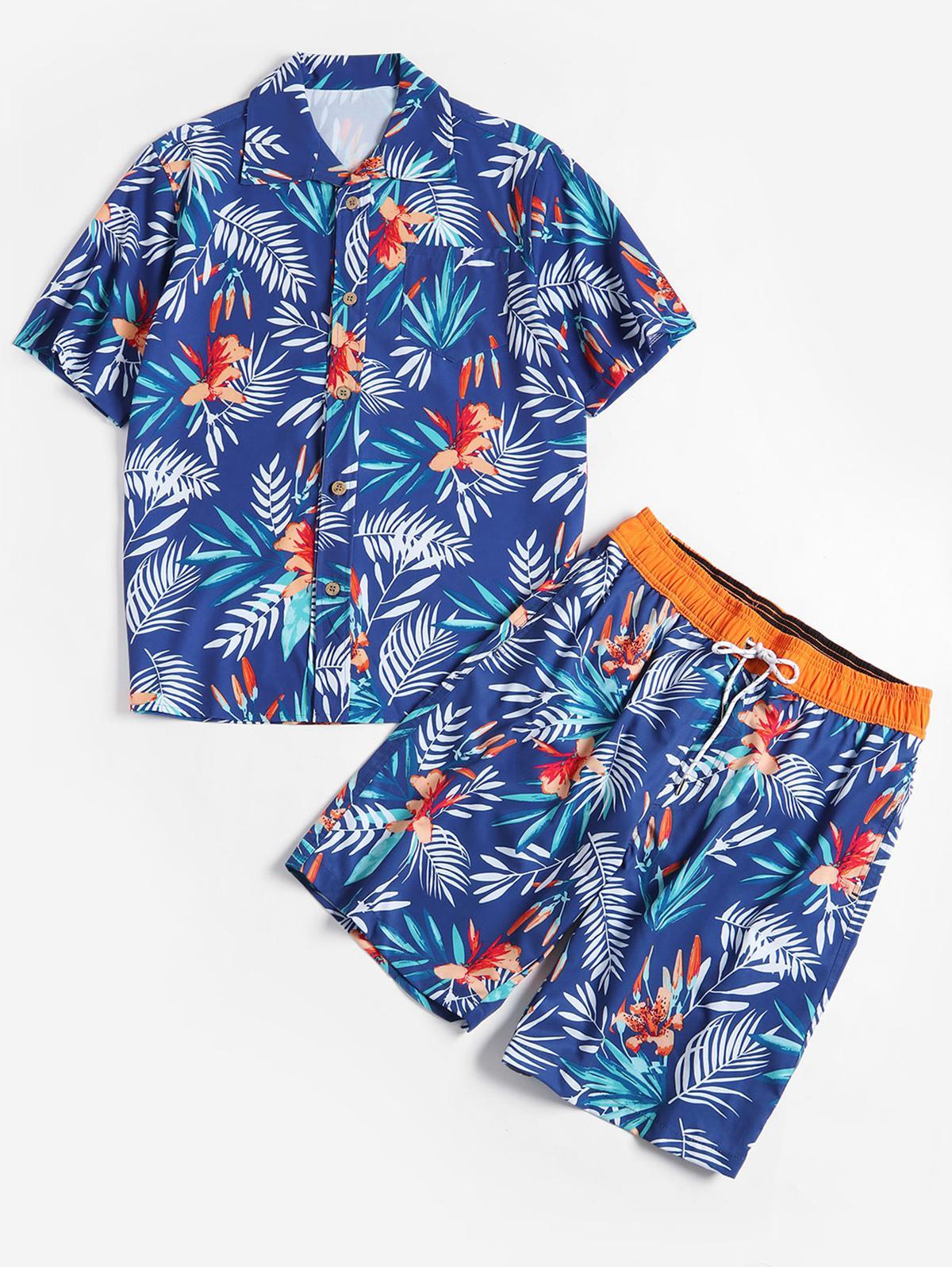Chemise et Short à Imprimé Feuilles et Fleurs M Bleu
