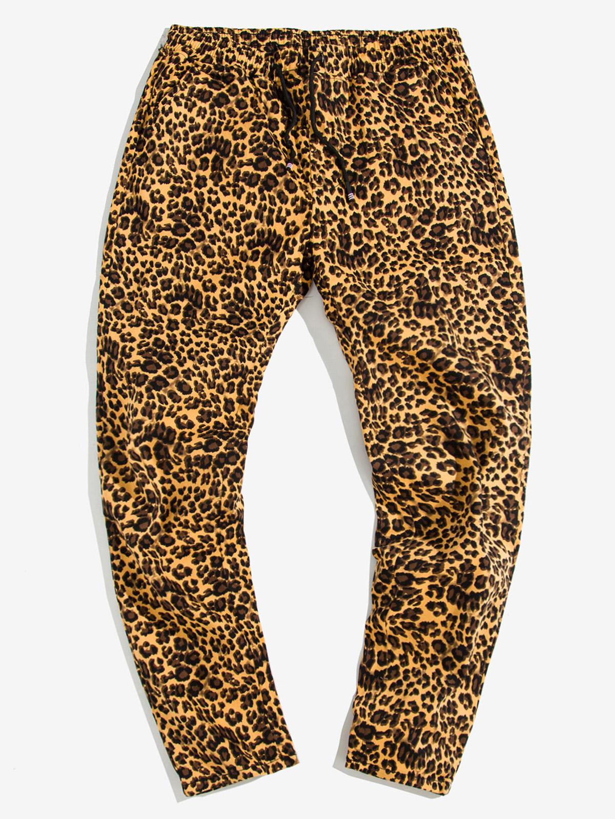 Leopard Print Drawstring Casual Pants фото