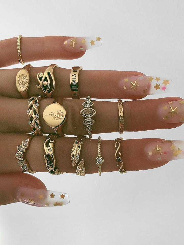 13Pcs Round Shape Rhinestone Finger Rings Set