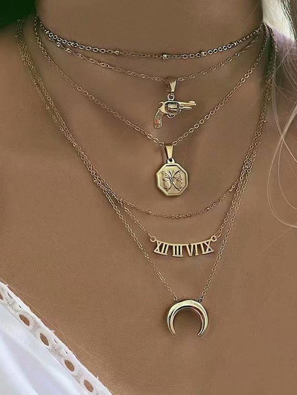 Moon Gun Letter Pendant Multilayered Chain Necklace