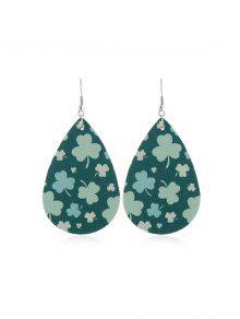 Water Drop Leaf Print Drop Earrings