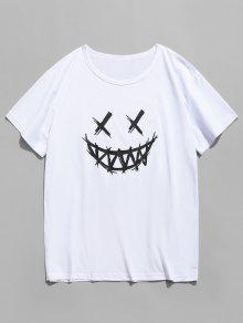 وجه سعيد الجرافيك عارضة قصيرة الأكمام تي شيرت - أبيض M