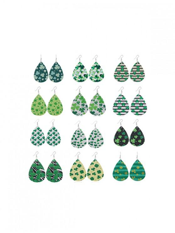 sale 12Pairs Clover Water Drop Earrings Set - MULTI