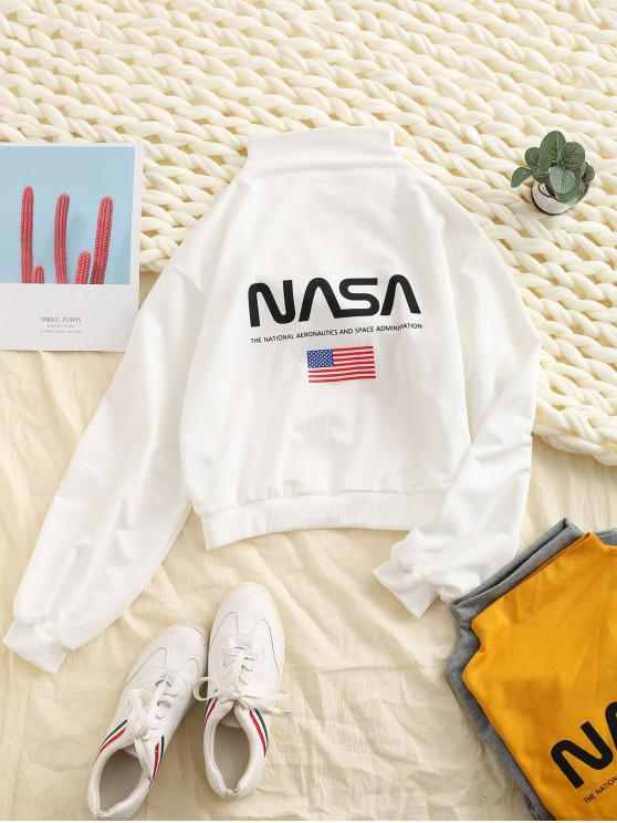 outfits ZAFUL Mock Neck Drop Shoulder American Flag Sweatshirt - WHITE M