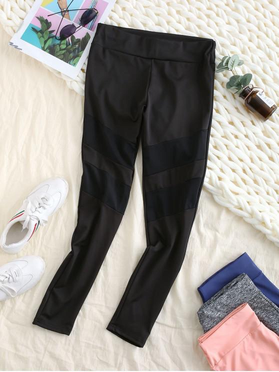outfit Mesh Insert Skinny Workout Leggings - BLACK M