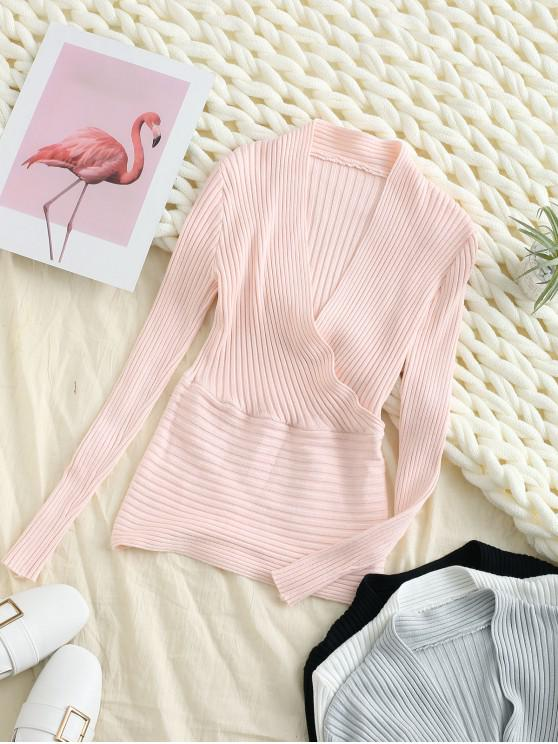 unique Surplice Plunge Slim Ribbed Knit Sweater - PINK ONE SIZE