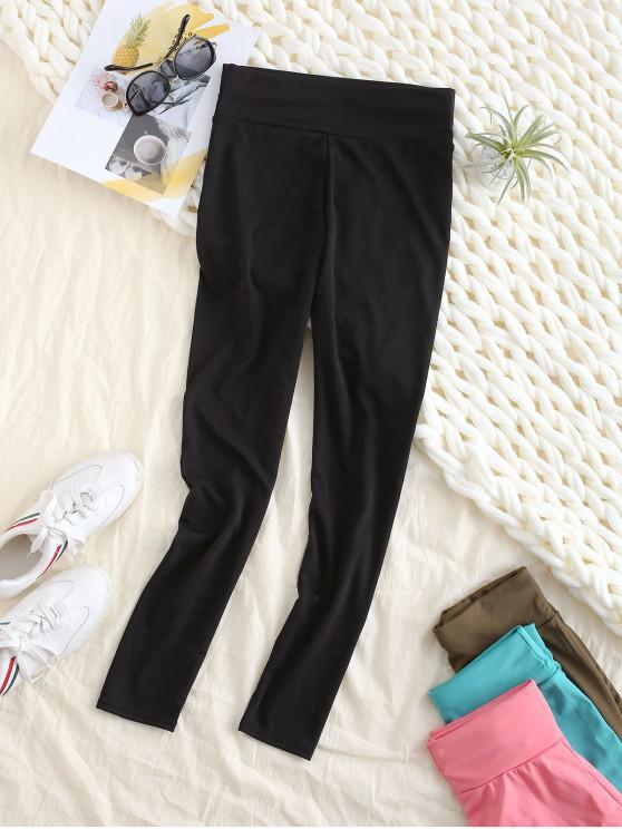 womens Back Pocket High Waisted Ninth Leggings - BLACK M