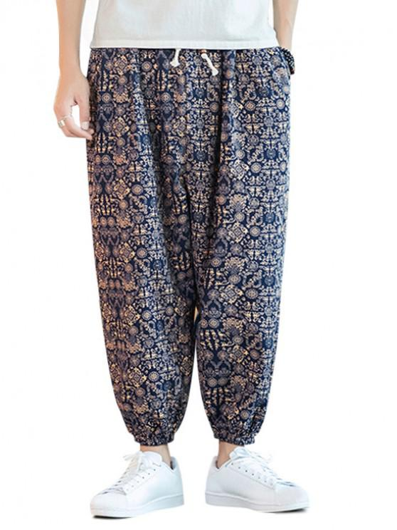 unique Ethnic Printed Drawstring Casual Pants - MULTI-A 4XL