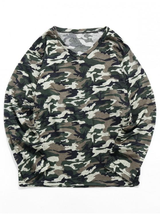 outfits Camo Print Long-sleeved Casual T-shirt - MULTI L