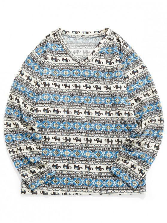 buy Tribal Elephant Pattern Long Sleeves T-shirt - MULTI S