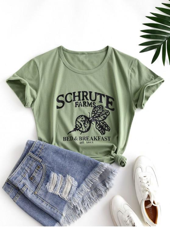 online Letter Leaf Print Cotton Short Sleeve Tee - LIGHT GREEN 2XL