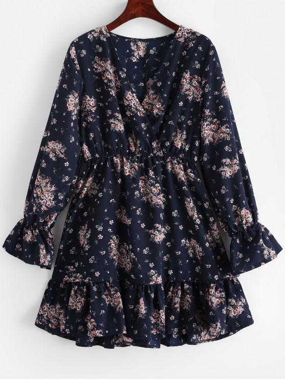 affordable Long Sleeve Ditsy Floral Surplice Mini Dress - CADETBLUE M