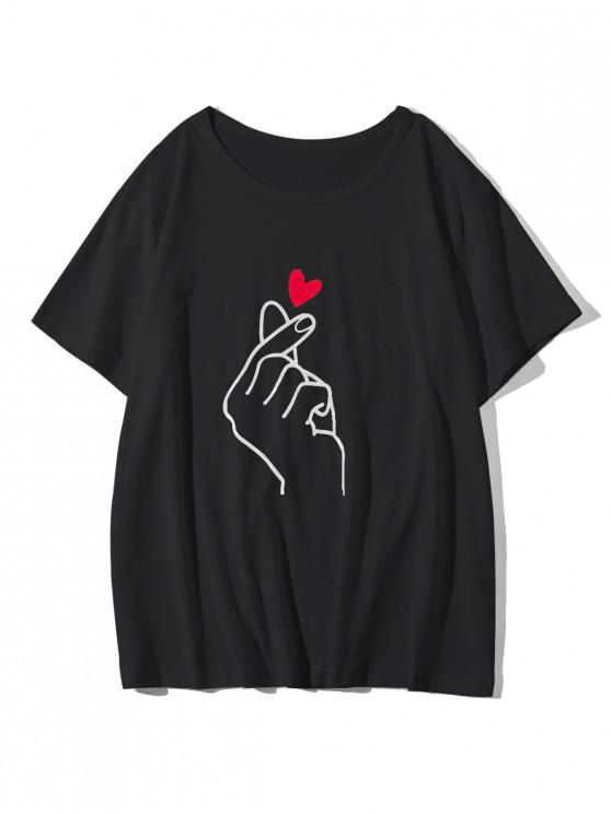 lady Finger Heart Graphic Casual T Shirt - BLACK XS