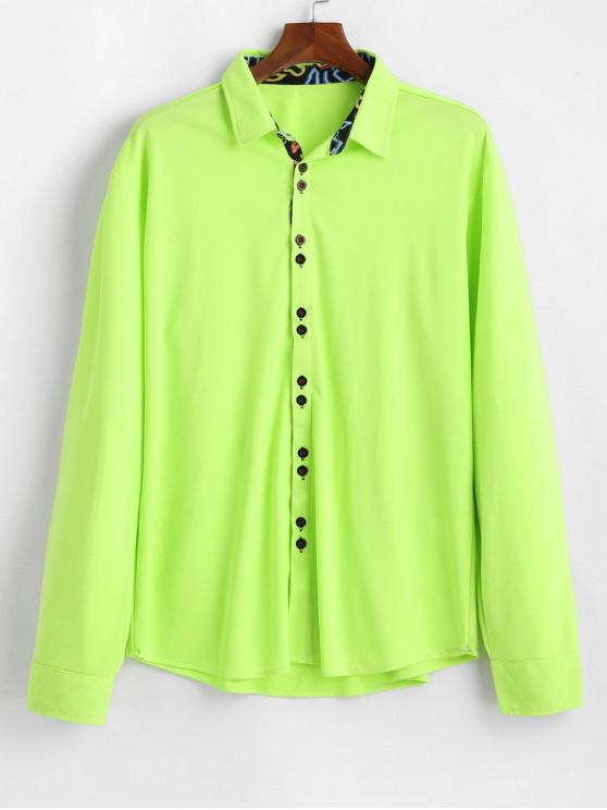 shop Neon Pinhole Mesh Button Up Long Sleeve Shirt - GREEN YELLOW M