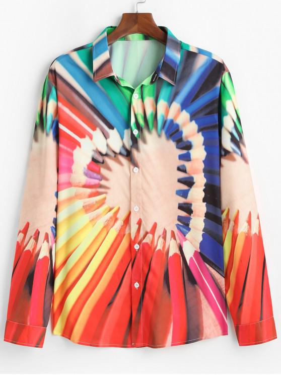 fashion Pencil Crayon Heart Graphic Button Up Lounge Shirt - MULTI XL